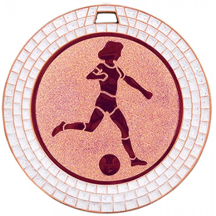70MM WOMEN'S FOOTBALL WHITE GEM MEDAL - BRONZE