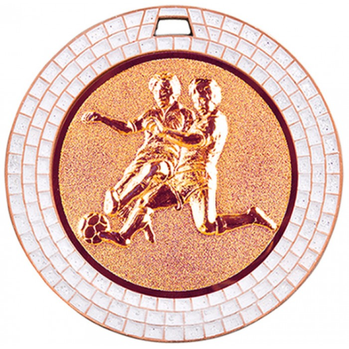 70MM MALE FOOTBALL WHITE GEM MEDAL - BRONZE