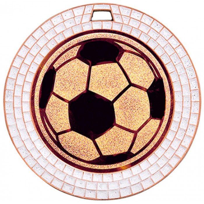 70MM FOOTBALL WHITE GEM MEDAL -BRONZE