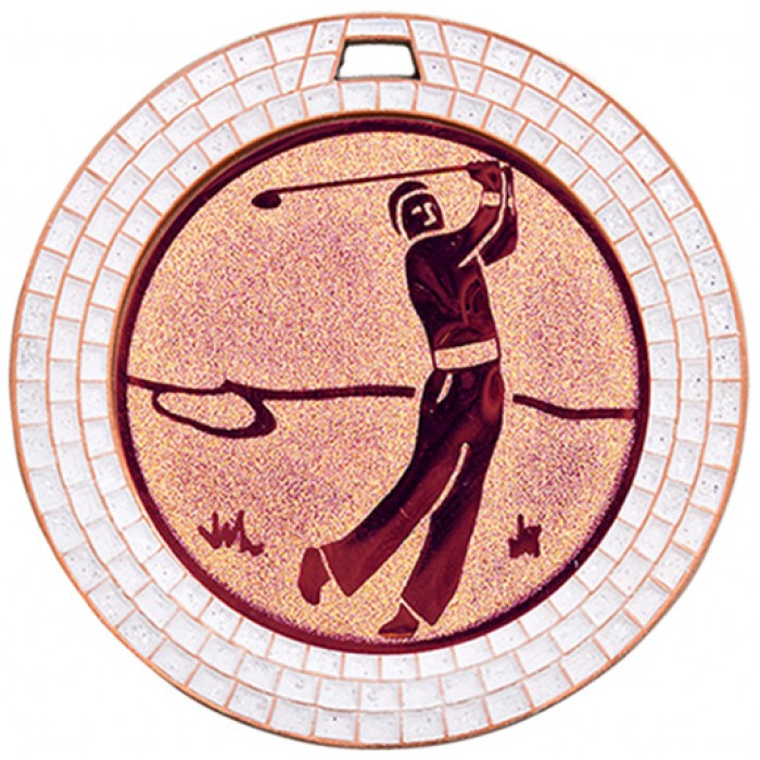 70MM GOLF WHITE GEM MEDAL - BRONZE