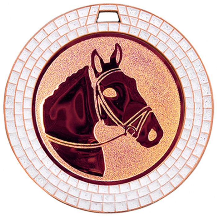 70MM HORSE RIDING WHITE GEM MEDAL - BRONZE