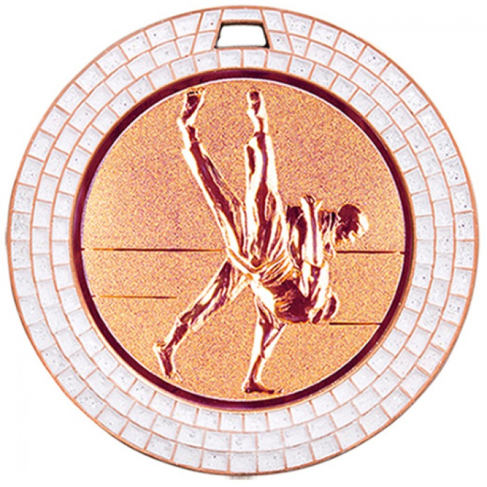 BRONZE 70MM JUDO MEDAL - GEMSTONE EFFECT