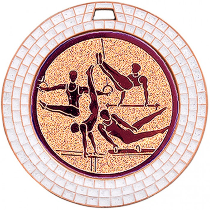 GEMSTONE MALE GYMNASTICS MEDAL - 70MM - BRONZE