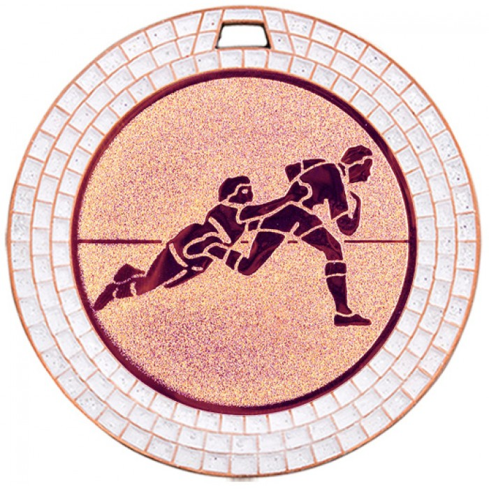 70MM RUGBY WHITE GEM MEDAL - BRONZE