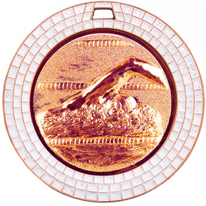70MM SWIMMING WHITE GEM MEDAL - BRONZE