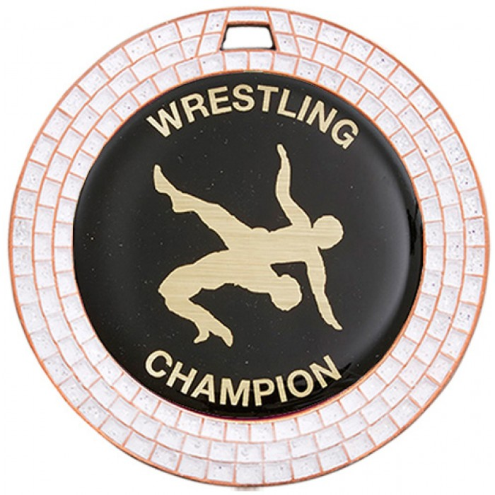 70MM BRONZE WRESTLING MEDAL - GEMSTONE EFFECT