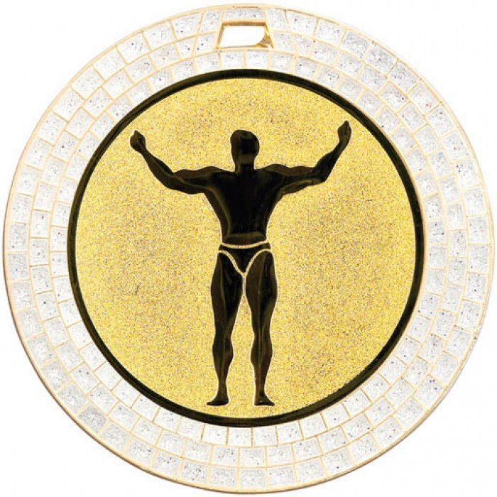 70MM BODYBUILDING MEDAL - WHITE GEMSTONE - GOLD