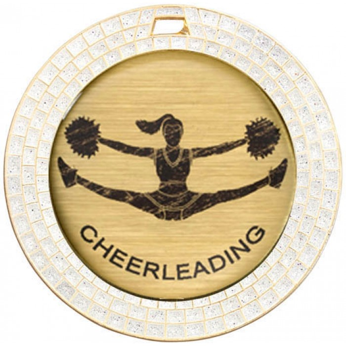 CHEERLEADING WHITE GEM MEDAL - 70MM - GOLD
