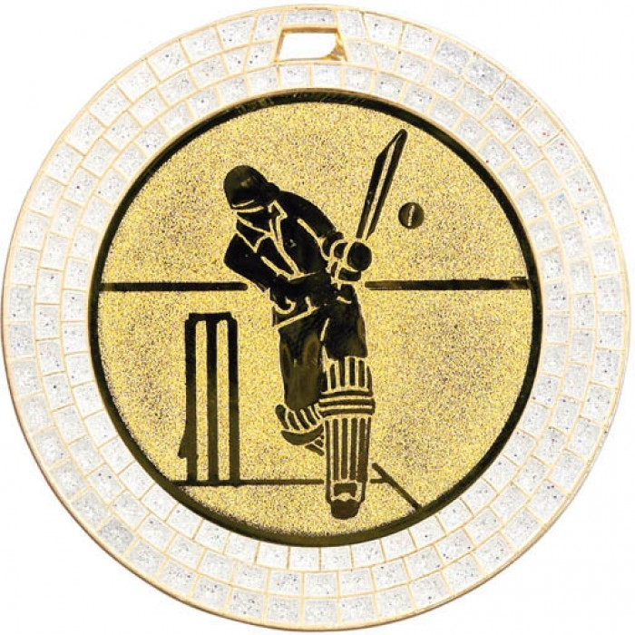 GOLD 70MM CRICKET GEM MEDAL - WHITE GEM