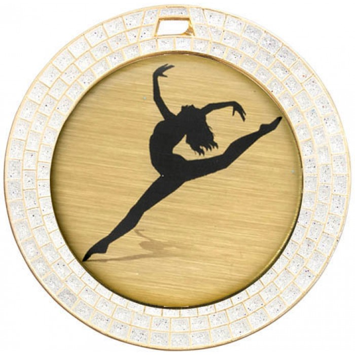 DANCE WHITE GEM MEDAL-  70MM  - GOLD