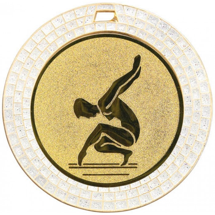 GEMSTONE FEMALE GYMNASTICS MEDAL - 70MM - GOLD