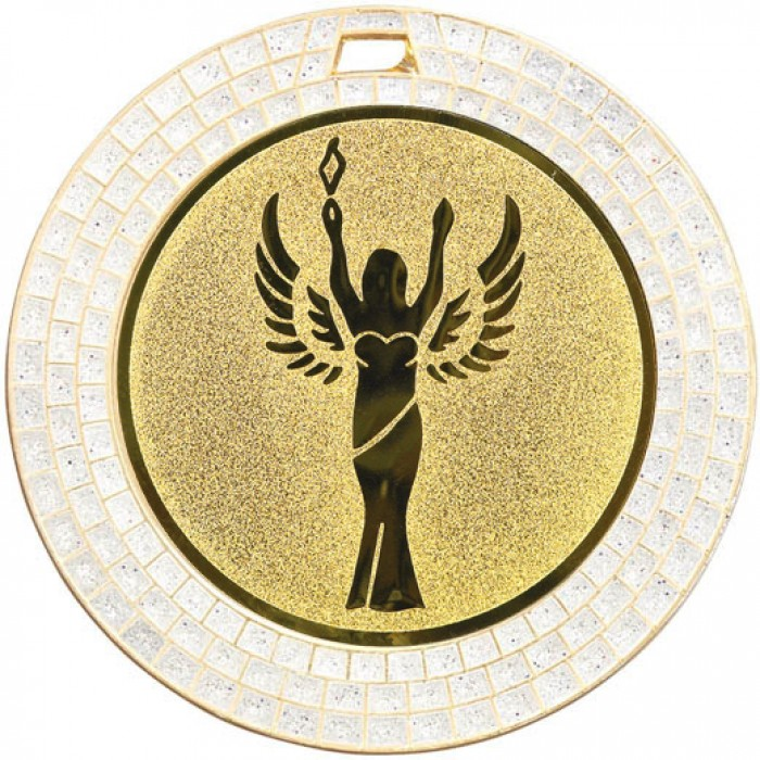 70MM VICTORY STATUE WHITE GEM MEDAL - GOLD
