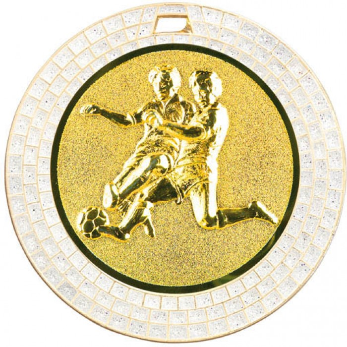 70MM MALE FOOTBALL WHITE GEM MEDAL - GOLD