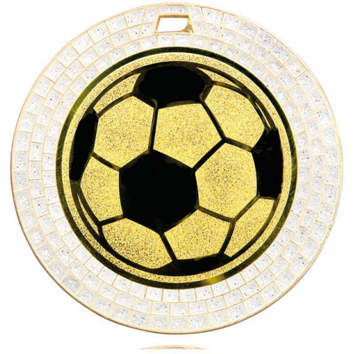 70MM FOOTBALL WHITE GEM MEDAL - GOLD