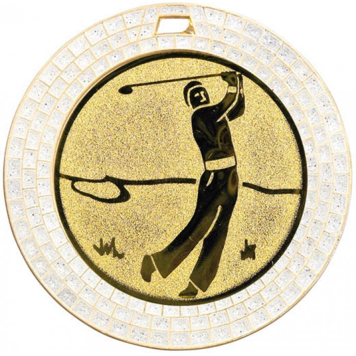 70MM GOLF WHITE GEM MEDAL - GOLD