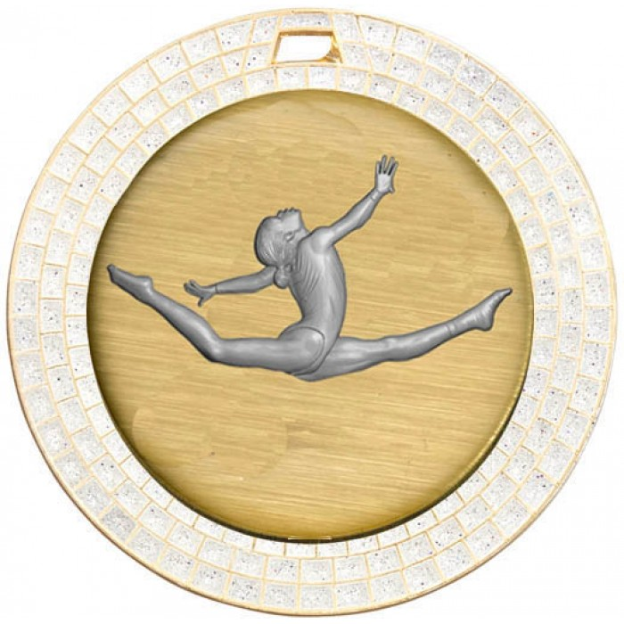 GOLD GEM GYMNASTICS MEDAL - 70MM