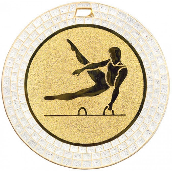 GEMSTONE MALE GYMNASTICS MEDAL - 70MM - GOLD