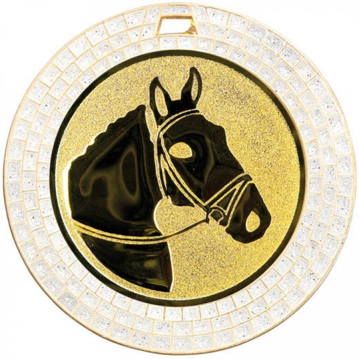 70MM HORSE RIDING WHITE GEM MEDAL - GOLD