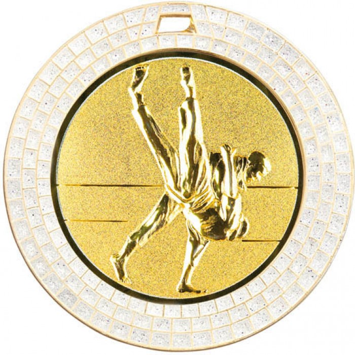 GOLD 70MM JUDO MEDAL - GEMSTONE EFFECT
