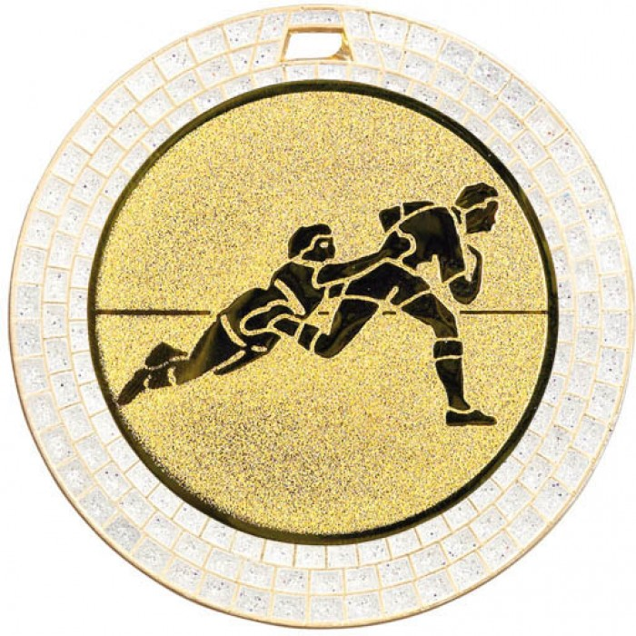 70MM RUGBY WHITE GEM MEDAL - GOLD