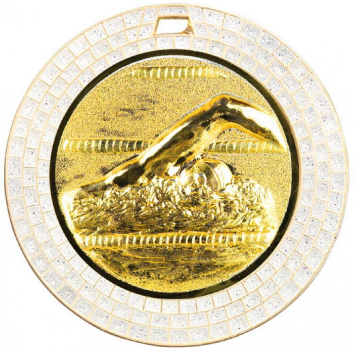 70MM SWIMMING WHITE GEM MEDAL - GOLD