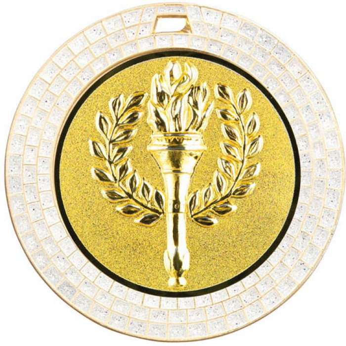 70MM VICTORY TORCH WHITE GEM MEDAL - GOLD