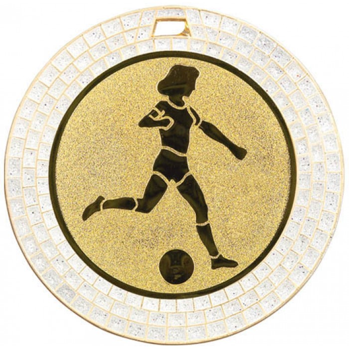 70MM WOMEN'S FOOTBALL WHITE GEM MEDAL - GOLD