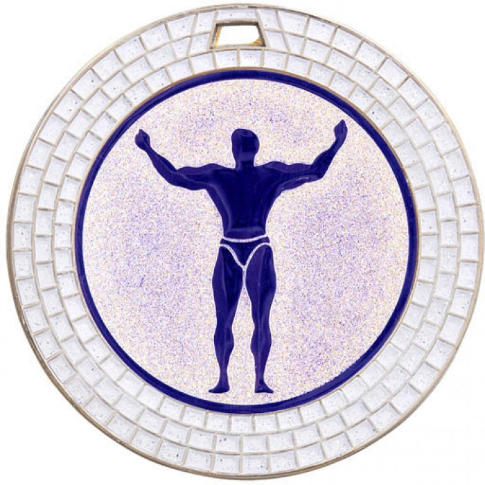 70MM BODYBUILDING MEDAL - WHITE GEMSTONE - SILVER