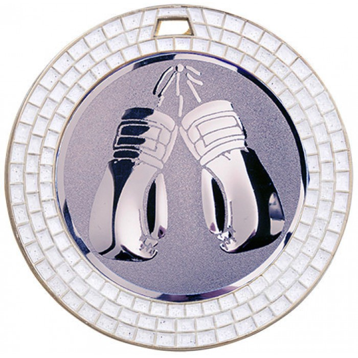 SILVER 70MM THAI BOXING MEDAL - WHITE GEMSTONE