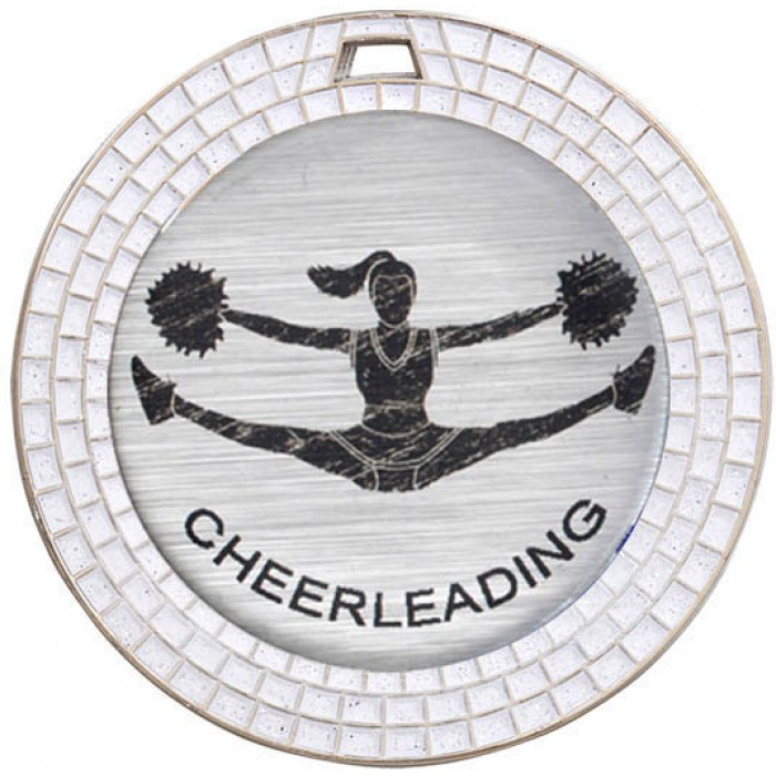 CHEERLEADING WHITE GEM MEDAL -70MM - SILVER