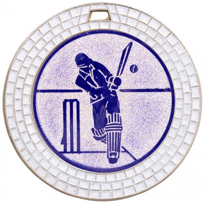 SILVER 70MM CRICKET GEM MEDAL - WHITE GEM