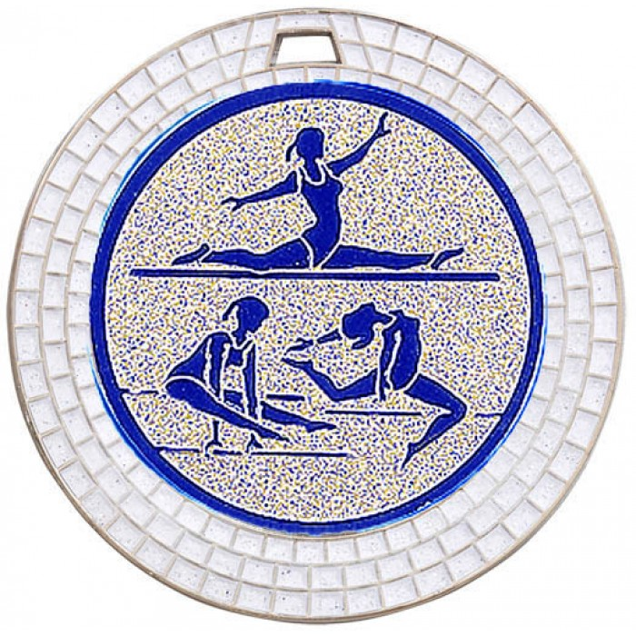 SILVER WHITE GEM GYMNASTICS MEDAL - 70MM