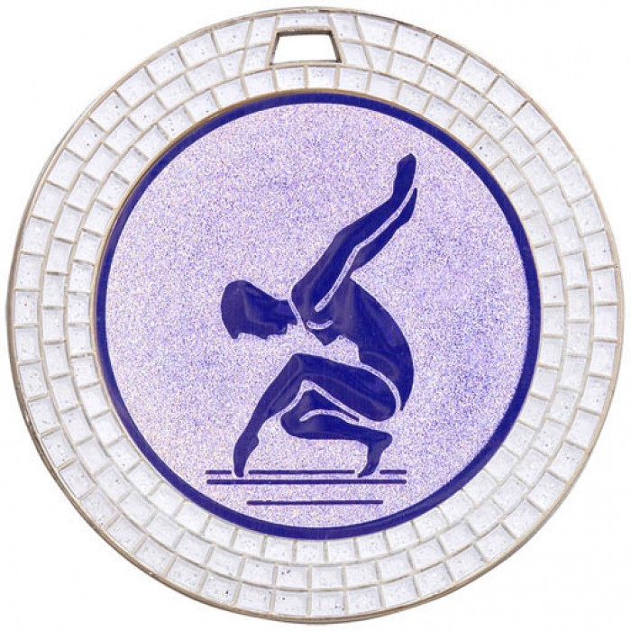 GEMSTONE FEMALE GYMNASTICS MEDAL - 70MM - SILVER