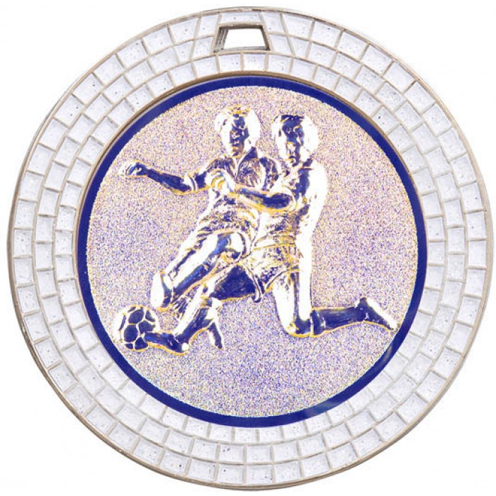 70MM MALE FOOTBALL WHITE GEM MEDAL - SILVER