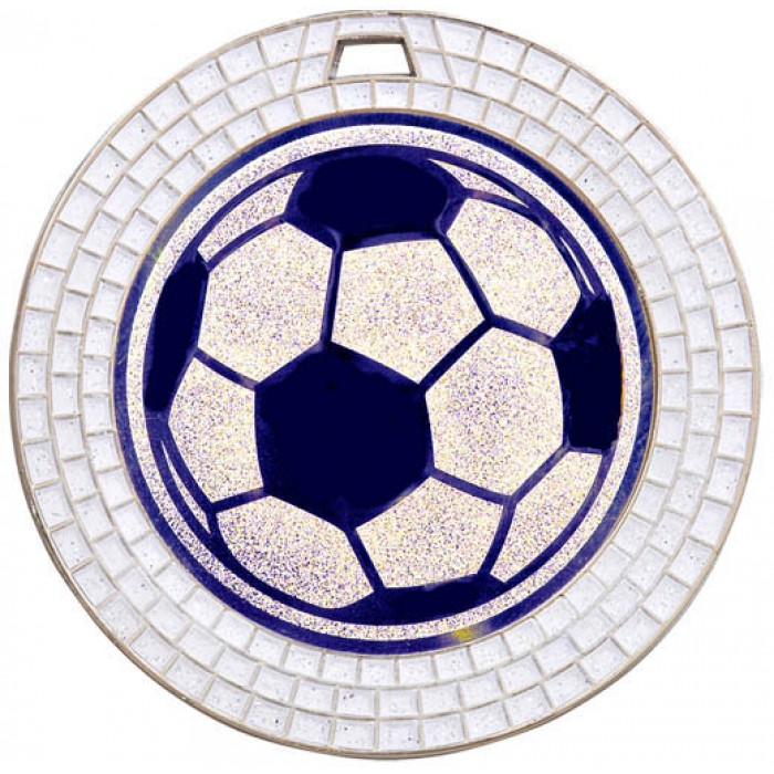 70MM FOOTBALL WHITE GEM MEDAL - SILVER