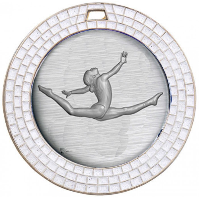 SILVER GEM GYMNASTICS MEDAL - 70MM
