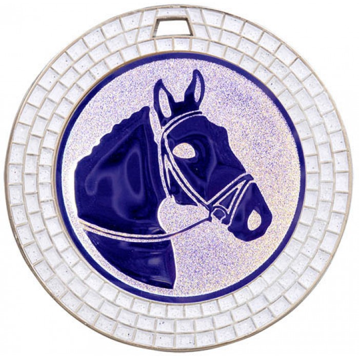 70MM HORSE RIDING WHITE GEM MEDAL - SILVER