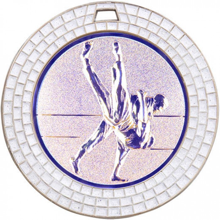 SILVER 70MM JUDO MEDAL - GEMSTONE EFFECT