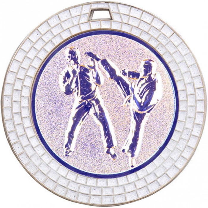 70MM KARATE MEDAL GEM EFFECT - SILVER