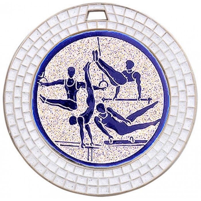 GEMSTONE MALE GYMNASTICS MEDAL - 70MM - SILVER