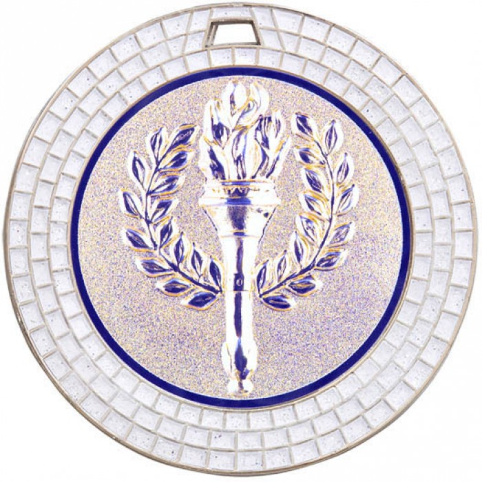 70MM VICTORY TORCH WHITE GEM MEDAL - SILVER