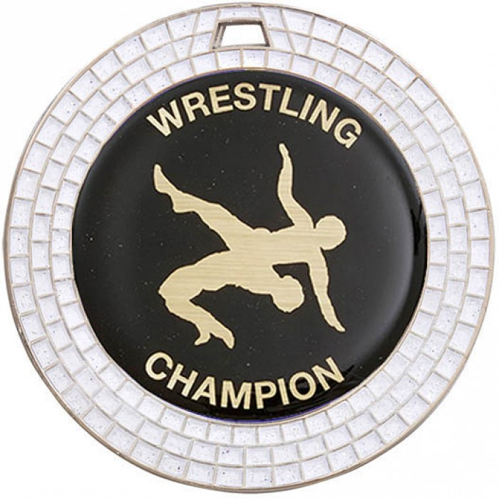 70MM SILVER WRESTLING MEDAL - GEMSTONE EFFECT