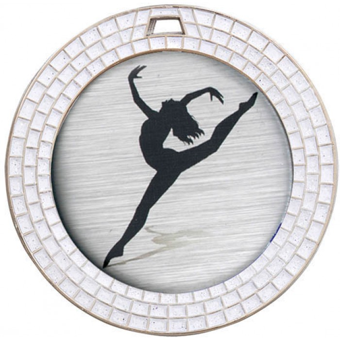DANCE WHITE GEM MEDAL - 70MM - SILVER