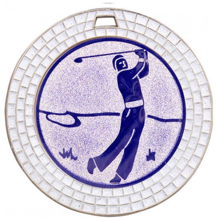 70MM GOLF WHITE GEM MEDAL - SILVER