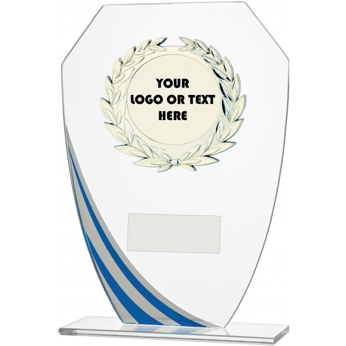 DECORATIVE BLUE STRIPE BUDGET GLASS AWARD - CUSTOM CENTRE - 3 SIZES