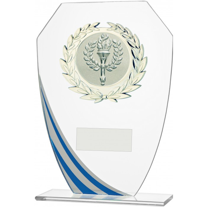 DECORATIVE BLUE STRIPE BUDGET GLASS AWARD - STOCK CENTRE - 3 SIZES