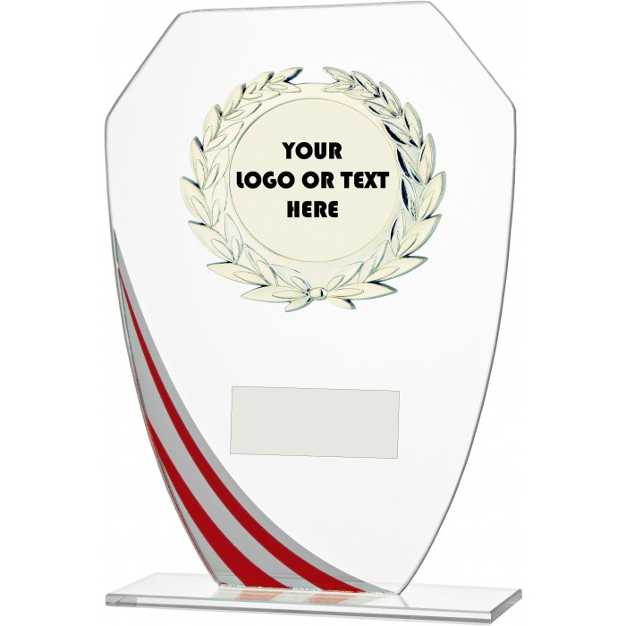 DECORATIVE RED STRIPE BUDGET GLASS AWARD - CUSTOM CENTRE - 3 SIZES