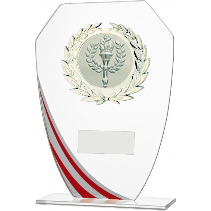 DECORATIVE RED STRIPE BUDGET GLASS AWARD - STOCK CENTRE - 3 SIZES