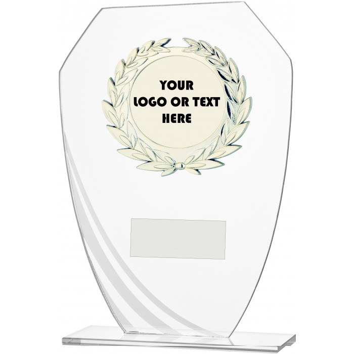 DECORATIVE FROSTED STRIPE BUDGET GLASS AWARD - CUSTOM CENTRE - 3 SIZES