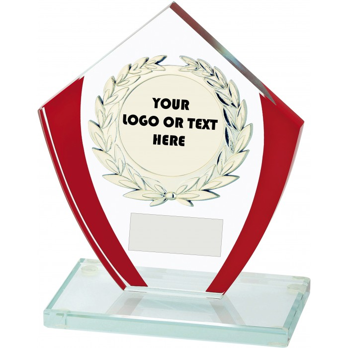 RED FEATURE 10MM THICK BUDGET GLASS AWARD - CUSTOM CENTRE - 3 SIZES